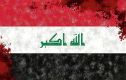 Ilustração de uma bandeira iraquiana, imitação da pintura na parede velha com quebras imagem de stock