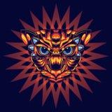 Ilustração de uma cabeça do gato com ouro e azul e um fundo decorativo atrativo e original ilustração stock