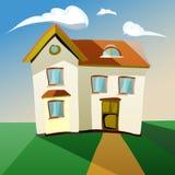 Ilustração de uma casa dos desenhos animados na tarde ou no morni ilustração do vetor