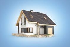 Ilustração de uma casa moderna com uma garagem isolada no fundo gadient azul 3d para render ilustração royalty free