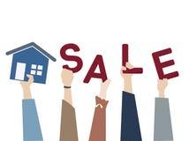 Ilustração de uma casa para a venda ilustração stock