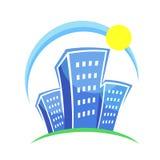Ilustração de uma cidade com casas azuis Imagens de Stock