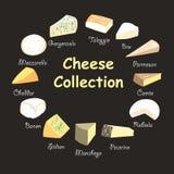 Ilustração de uma coleção dos queijos Imagens de Stock Royalty Free
