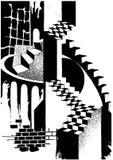 Ilustração de uma composição abstrata arquitetónica foto de stock