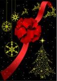 Ilustração de uma curva vermelha e de uma árvore de Natal ilustração do vetor