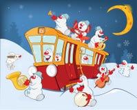Ilustração de uma faixa da música do boneco de neve do Natal e de um bonde vermelho ilustração royalty free