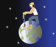 Equipe a perfuração na terra ilustração royalty free