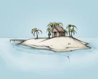 Ilustração de uma ilha com uma casa pequena Fotos de Stock Royalty Free