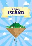 Ilustração de uma ilha de voo com pássaros e nuvens das casas ilustração royalty free