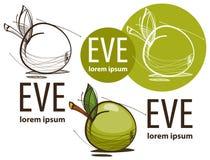 Ilustração de uma maçã verde no fundo branco Fotos de Stock