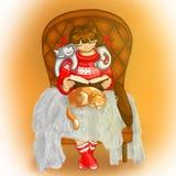 Ilustração de uma menina e de gatos Menina que lê um livro Foto de Stock Royalty Free