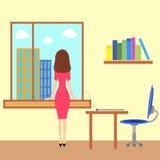 Menina que olha o througth a janela Imagens de Stock Royalty Free