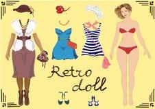 Ilustração de uma menina retro com projeto retro da roupa e molde do corpo Fotografia de Stock Royalty Free