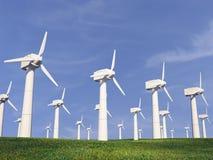 Ilustração de uma turbina eólica na natureza 3d Fotografia de Stock Royalty Free