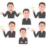 Ilustração de várias expressões faciais de um homem Imagens de Stock