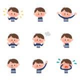 Ilustração de várias expressões faciais de um menino Imagens de Stock