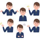 Ilustração de várias expressões faciais de um menino Imagens de Stock Royalty Free
