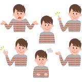 Ilustração de várias expressões faciais de um menino Fotografia de Stock Royalty Free