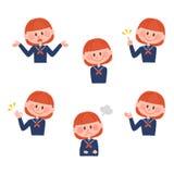 Ilustração de várias expressões faciais de uma menina Fotos de Stock Royalty Free