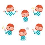 Ilustração de várias expressões faciais de uma menina Foto de Stock Royalty Free