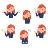 Ilustração de várias expressões faciais de uma menina Fotografia de Stock Royalty Free