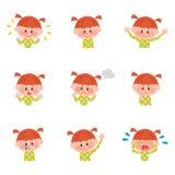 Ilustração de várias expressões faciais de uma menina Imagem de Stock