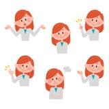 Ilustração de várias expressões faciais de uma menina Imagens de Stock Royalty Free