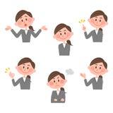 Ilustração de várias expressões faciais de uma mulher Imagem de Stock