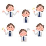 Ilustração de várias expressões faciais de uma mulher Imagens de Stock Royalty Free