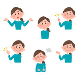 Ilustração de várias expressões faciais de uma mulher Fotografia de Stock Royalty Free