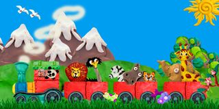 Ilustração de viagem da bandeira das crianças da rendição dos animais 3D do jardim zoológico Fotografia de Stock Royalty Free