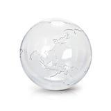 Ilustração de vidro clara Ásia do globo 3D & mapa de Austrália Fotos de Stock Royalty Free
