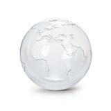 A ilustração de vidro clara Europa e África do globo 3D traça Fotos de Stock