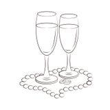 Ilustração de vidros do champanhe Fotos de Stock Royalty Free