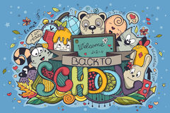A ilustração de volta à escola colorida rabisca em um fundo azul Fotos de Stock