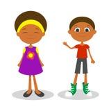 Ilustração de wi afro-americanos novos felizes do menino e da menina Fotografia de Stock