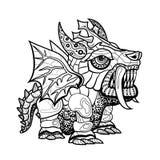 Ilustração decorativa do esboço do dragão da tração da mão Fotografia de Stock Royalty Free