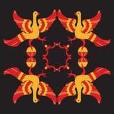Ilustração decorativa do vetor de pássaros mitológicos Imagens de Stock Royalty Free