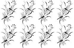 Ilustração decorativa do vetor do teste padrão preto branco floral das libélulas ilustração royalty free