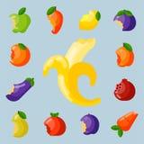 Ilustração deliciosa mordida do vetor do petisco da agricultura da nutrição do corte do alimento e do vegetal da vitamina dos fru ilustração stock