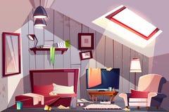 Ilustração desarrumado do vetor dos desenhos animados do quarto do sótão ilustração royalty free