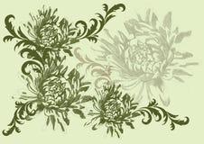 Ilustração desenhada mão do vetor com flores Imagens de Stock Royalty Free