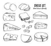 Ilustração desenhada mão do vetor Mussarela ajustada do queijo, che azul Fotografia de Stock Royalty Free
