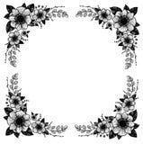 Ilustração desenhada mão do vetor Quadro floral decorativo do vintage Imagens de Stock Royalty Free