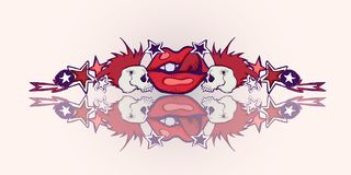 Ilustração desenhada mão Tema do punk rock Crânios, bordo vermelho ilustração stock