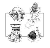 Ilustração desenhada mão Vista superior: Conversação do negócio ilustração do vetor