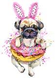 Ilustração desenhado à mão bonito da aquarela do cão pequeno ilustração royalty free