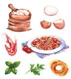 Ilustração desenhado à mão da aquarela de produtos e de ingredientes diferentes ilustração do vetor