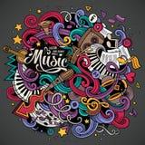 Ilustração desenhado à mão do Musical das garatujas dos desenhos animados Imagens de Stock