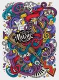 Ilustração desenhado à mão do Musical das garatujas dos desenhos animados Imagem de Stock